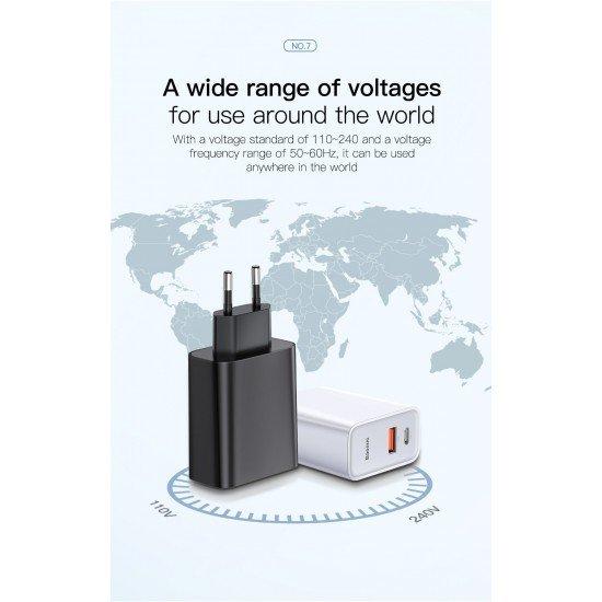 Karikues Baseus me 2 Porta ( USB + Type-C ) Fast Charger 30W
