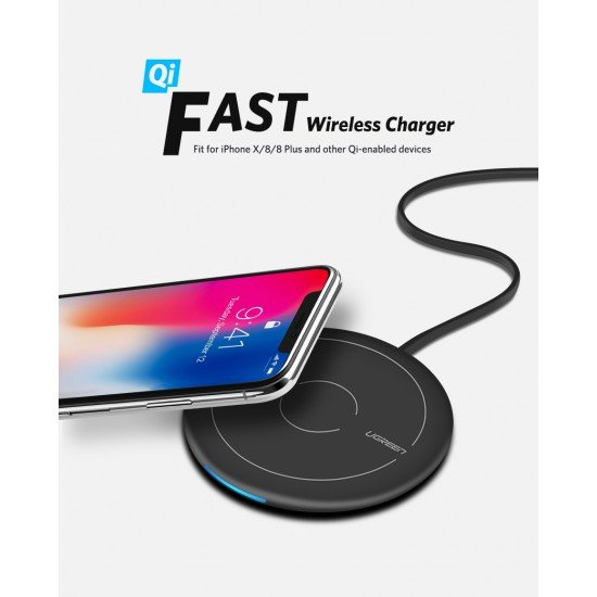 Karikues Wireless Ugreen per iPhone 8, X, XS,11 Pro, Samsung S8, S9, Note 8/9 Fast Charger